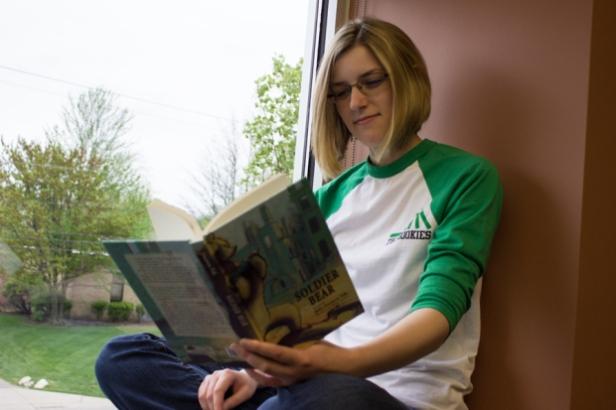 Ingrid got caught reading