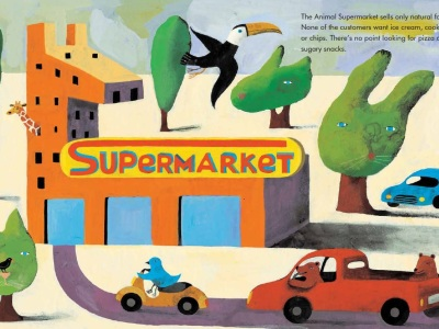 Interior illustration by Simona Mulazzani from Animal Supermarket.