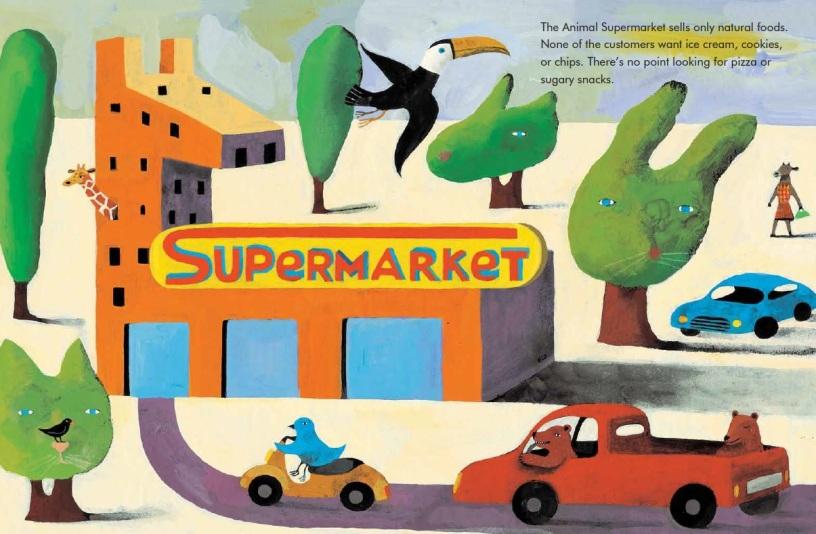 Interior illustration by Simona Mulazzani from Animal Supermarket.