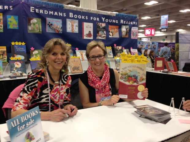 Jen Bryant and Melissa Sweet signing books at the EBYR ALA booth