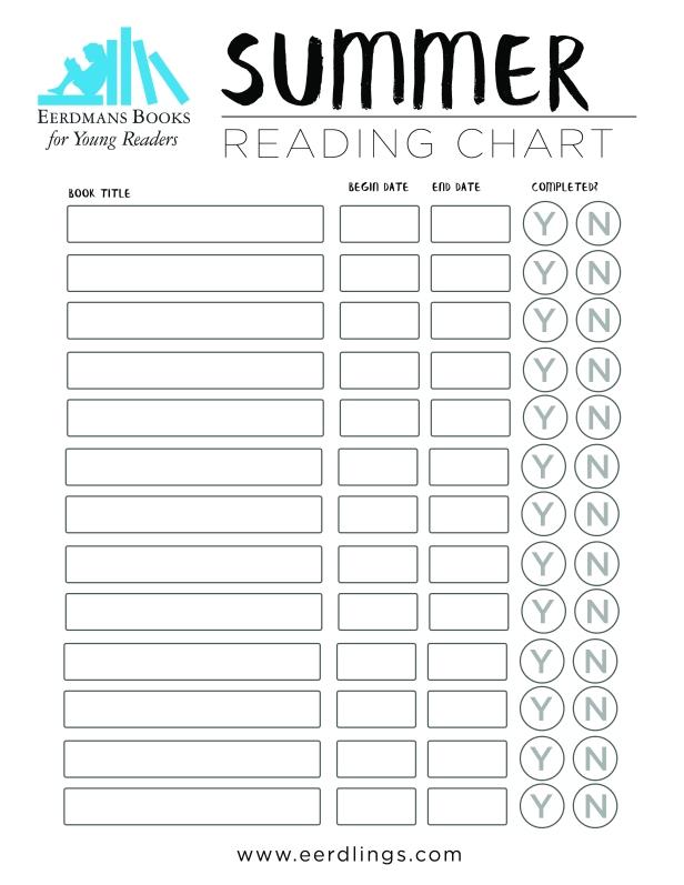 Summer reading chart for children