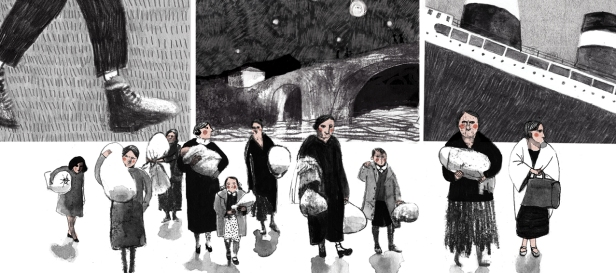 Mexique A Refugee Story from the Spanish Civil War children's illustrated book for kids page 6-7